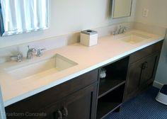 Concrete vanity top with undermount sinks. #Concrete #Vanity Tops -Trueform Concrete Custom Work