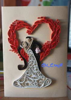 Quilling -Card Home Made- Quilled Paper Art Paper Quilling Jewelry, Neli Quilling, Quilled Paper Art, Paper Quilling Designs, Quilling Paper Craft, Quilling Patterns, Wedding Quilling Ideas, Paper Crafts Wedding, Craft Wedding