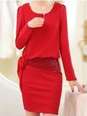 Elegant Paillette Bowknot Square Neck  Plain Bodycon-dress