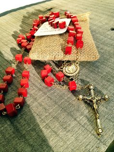 Red Bamboo Coral Rosary on Etsy, $65.00 benefits our adoptions.
