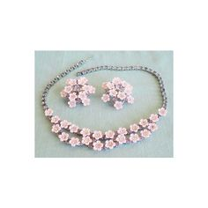 Vintage Pink Flowers with Lavendar Rhinestone Centers Choker Necklace... (2,885 INR) ❤ liked on Polyvore featuring jewelry, pink jewelry, vintage flower jewelry, rhinestone jewelry, set jewelry and vintage rhinestone jewelry