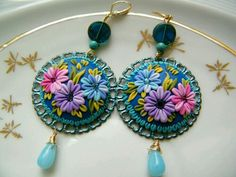 Items similar to Springtime Bloom - Polymer Clay Dangling Earrings on Etsy Polymer Clay Pendant, Fimo Clay, Polymer Clay Projects, Polymer Clay Art, Clay Beads, Polymer Clay Earrings, Clay Crafts, Biscuit, Polymer Clay Embroidery