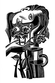 Natalia Moroz  'Roses', 2003 Linoleum Print Open Edition