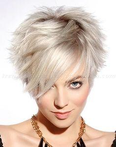 short hairstyle with long fringe