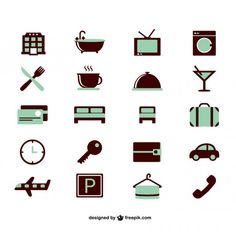 Green hotel icons set Free Vector