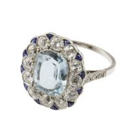 1STDIBS.COM Jewelry & Watches - Belle Époque Aquamarine Target Ring with Diamonds and Sapphires - Past Era Antique Jewelry (replace center with cushion cut diamond)