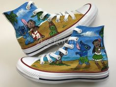 ff4fa865999e Items similar to Disney Lilo And Stitch inspired Hand Painted Converse Hi  Tops shoes sneakers. on Etsy