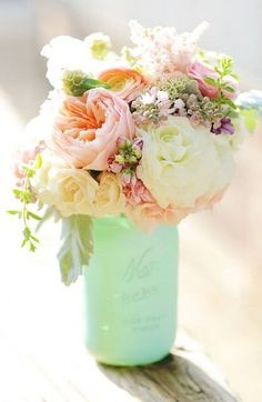 Once Upon A Wildflower | Mint green and pink bouquet | wedding centerpieces