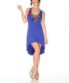 Royal Blue Rosette Hi-Low Dress by Radzoli $29.99