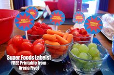 Super food labels. FREE printable! Superhero Party from @slkooiman at Arena Five