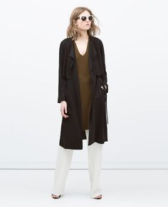 Image 1 of DRAPEY LONG RAINCOAT from Zara