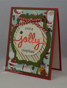 """Blog Post Date:  Nov 18, 2015.  This Christmas card features the Holly Jolly Greetings and Versatile Christmas stamp sets, Home for Christmas Designer Series Paper, Home for Christmas Enamel Dots, Red Foil Sheets, Real Red 1/8"""" Striped ribbon, 2-1/2"""" circle punch, and Deco Labels Collection Framelits and Christmas Greetings Thinlits for the Big Shot.  This project also met the criteria for the Global Design Project Christmas Theme (GDP011)."""