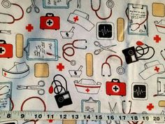 Flannel fabric medical nurse doctor supplies stethoscope BP cotton print quilt quilters sewing material to sew by the yard craft project BTY by ConniesQuiltFabrics from ConniesQuiltFabric. Find it now at http://ift.tt/2g8h6to! http://ift.tt/24HwgZX.