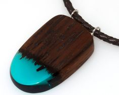 Resin Wood Necklace Wood Pendant on Leather Cord Handmade Necklace Exotic Wood Pendant Resin Jewellery Wood Jewellery  Summer Jewelry #ad