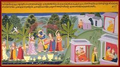 Radha and Sakhi, but in this painting they are close to the gopis. Kama shoots at Radha. Gopi filling her syringe to spray water on Krishna. Krishna dances with the gopis. The Jumna river. Banana tree, used as a spatial divider in Mewari painting. Houses, terraces, courtyards, and inhabitants of Brindaban. Brindaban forest is washed by meandering Jumna river… Mewari Gita-Govinda composed in the mid-17th century, presently in the Saraswati Bhandar, Udaipur, Rajasthan