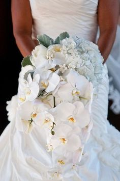 bouquet of white orchids and hydrangeas...blue or green too