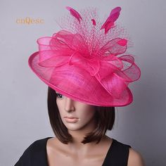 a47bb80efa385 Hot pink Big saucer sinamay fascinator hat with feathers veiling