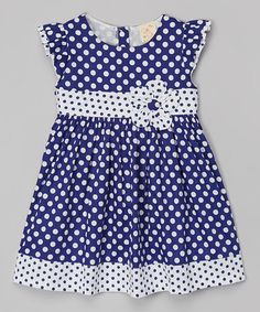 Another great find on #zulily! Navy Polka Dot Babydoll Dress - Toddler & Girls #zulilyfinds