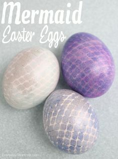 Mermaid Easter Eggs using Fishnet, color mist, and nail polish.