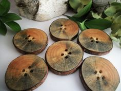 Wood Buttons Made in Michigan - 6 Spalted Red Pine Tree Branch Buttons - 2 1/4 inch or 57 mm for pillows, hats, cowls, journals, photo props