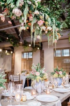 Want to keep your table simple and elegant but still want flowers - why not opt for a floral ceiling installation - looks beautiful and will add that wow factor you have been looking for with your wedding decor. Hanging Flowers Wedding, Hanging Wedding Decorations, Wedding Reception Flowers, Wedding Hair Flowers, Floral Wedding, Wedding Bouquets, Floral Decorations, Flower Installation, Ceiling Installation
