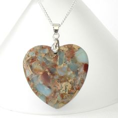 Heart shaped jasper pendant necklace £10.00