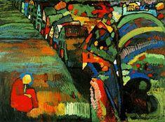 Wassily Kandinsky (1866 -1944) Kandinsky was aanvankelijk als jurist verbonden aan de Universiteit van Moskou. In 1896 vertrok hij naar München in Duitsland. Daar studeerde hij aan de Akademie der Bildenden Künste. Kandinsky was één van de grondleggers van de kunstenaarsgroep de Phalanx en richtte na een jaar de Phalanx-Malschule op. Een van de leerlingen, Gabriele Münter, werd zijn levensgezellin.