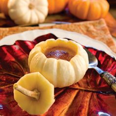 Pumpkin crème brûlée served in baby pumpkins is a delicious and clever fall treat. Baby In Pumpkin, A Pumpkin, Pumpkin Recipes, Fall Recipes, Holiday Recipes, Tea Recipes, Thanksgiving Recipes, Recipies, Canned Pumpkin