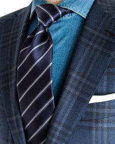 Ermenegildo Zegna | Macro Plaid Blue Sportcoat | Apparel | Men's