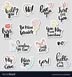 Set stickers calligraphy love design vector image on VectorStock Scrapbooking Stickers, Craft Stickers, Paper Bag Scrapbook, Journal Stickers, Printable Planner Stickers, Design Package, Doodle Art Letters, Snapchat Stickers, Tumblr Stickers