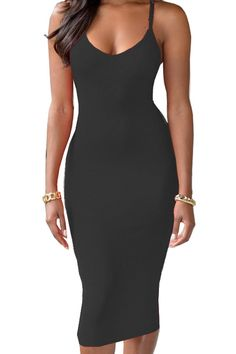 Bodycon Spaghetti Straps Solid Color #dress #LBD $16 #fashion #style #shopping #ootd #pinoftheday #zaful #womensfashion #womensfashionblogger #mystylespot