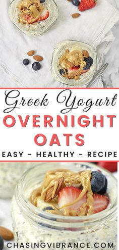Overnight Oats Greek Yogurt - A healthy breakfast idea and mouth-watering start to your day! I love how simple this recipe is and you have a faster than fast food breakfast to enjoy! | Overnight Oats | Overnight Oatmeal Recipe | Overnight Oats Healthy | Healthy Breakfast recipe | #breakfastrecipes #healthybreakfast #overnightoats #overnightoatmeal #healthybreakfastideas Quick Easy Healthy Meals, Cheap Easy Meals, Easy Meals For Kids, Healthy Breakfasts, Fast Food Breakfast, Clean Eating Breakfast, Egg Recipes For Breakfast, Breakfast Ideas, Overnight Oats Greek Yogurt