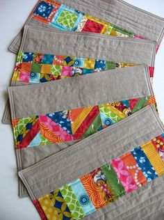 """PinEts"" Here's a fun idea for Summer. Kate S. with Needle and Spatula made these cute placemats for a ""Placemat Swap""! Very Simple - Just cut strips, sew together and stitch onto a plain placemat.  Cut Quick Strips: https://www.accuquilt.com/shop/ssearch?q=strip+cutter+dies"