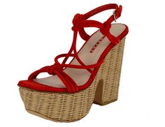Prada Shoes Knotted Red Suede Leather Wicker Wedge Sandals IT 40 US 10 *** Details can be found by clicking on the image.
