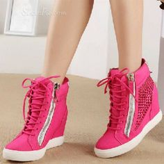 2013 New Arrival Rose Genuine Leather Wedge Heel Boots Wedge Heel Boots, Shoes Heels Wedges, Sneaker Heels, Pink Sneakers, Wedge Sneakers, Canvas Sneakers, Cute Shoes, Me Too Shoes, Discount Sneakers