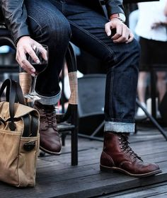 Red Wing Boots, Brown Boots, Lace Up Boots, Men's Leather, Leather Shoes, Iron Rangers, Denim Fashion, Autumn Fashion, Red Wing Iron Ranger