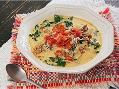 With this Copycat Olive Garden Zuppa Toscana recipe you can enjoy your favorite Italian soup recipe in the comfort of your own home. Made with freshly grated Parmesan, Italian sausage, and russet potatoes, this soup recipe is absolutely irresistible. Olive Garden Tuscan Soup, Olive Garden Zuppa Toscana, Olives, Italian Soup Recipes, Recipes Dinner, Dinner Ideas, Copycat Zuppa Toscana, Four Cheese Pasta, Toscana Recipe
