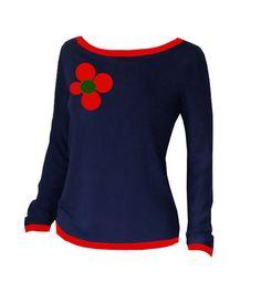 """Longsleeves - Iza Fabian - LONGLEEVE """"RED FLOWER 70"""" - ein Designerstück von…"""