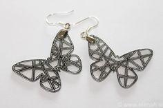 365 day project Butterfly ♥ DAY 69 ♥ Butterfly earrings, shrink plastic, inspired by Zentangle