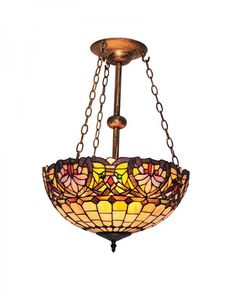 Tiffany Style Chandelier Lighting with Butterfly and Grids Pattern Stained Glass