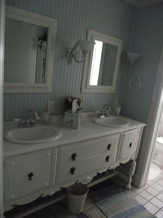 Buffet turned sink; beadboard