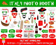 PRINTABLE Italy Photo Booth PropsPhoto Booth Sign-Printable