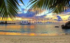 Wall Mural tropical beach at sunset - tropical • PIXERSIZE.com