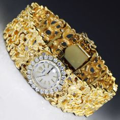 Vintage Ladies Rolex Watch w/ Diamond Bezel in 14kt Yellow Gold Nugget Style 7""