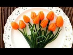 Art In Carrot Tulips Flower | Fruit & Vegetable Carving | Food Decoration | Party Garnishing - YouTube