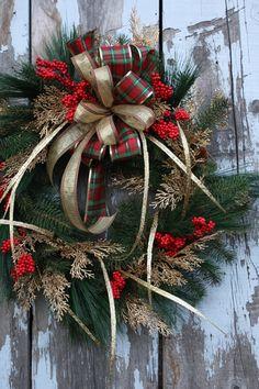 Christmas Wreath Red Berries Gold Cedar