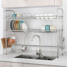 Dish Rack Double Slot Stainless Steel Dry Shelf Kitchen Cutlery Holder – Home living color wall treatment kitchen design Kitchen Cutlery, Kitchen Rack, Kitchen Dishes, Kitchen Storage, Kitchen Pantry, Dish Storage, Storage Area, Storage Bins, Storage Solutions