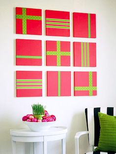 Easy Ribbon Art Create easy holiday art by painting nine 12x12-inch artist's canvases in your favorite Christmas color, and then applying ribbons using adhesive tape.