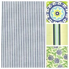 blue and white ticking mixed with blue and green patterned fabrics for pillows