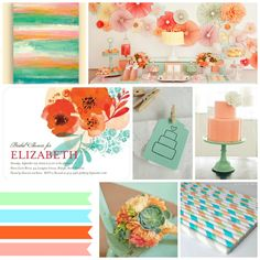 Mint and Coral wedding inspiration board by House by Hoff, inspired by a Wedding Paper Divas bridal shower invitation.
